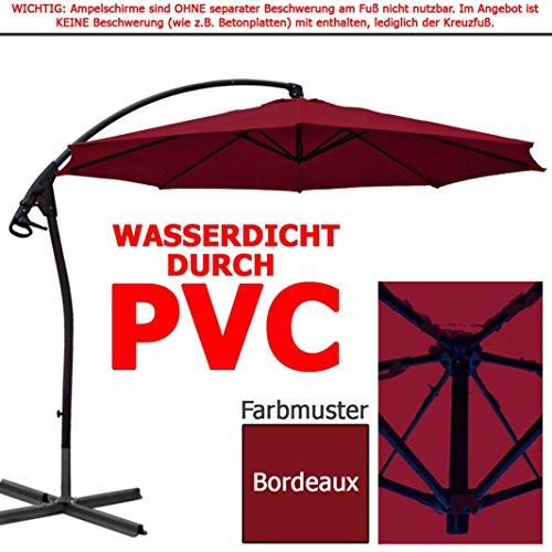 habeig® LUXUS Ampelschirm 3m Bordeaux rot WASSERDICHT durch PVC Schirm 300cm Sonnenschirm