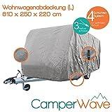 LUXUS Wohnwagen-Abdeckhaube, Spezielle 4-Schicht Abdeckung für Fahrzeuge mit einer Länge von 5,50 Meter-6,10 Meter, UV- Beständig + Atmungsaktiv, EXTRA lange Spannbänder für jede Wetter- und Windlag