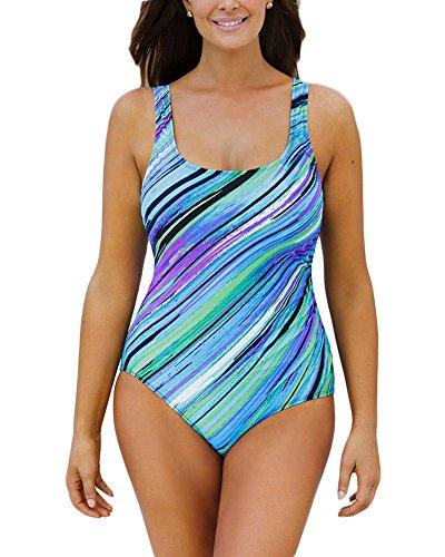 Donne Costumi Da Bagno Un Pezzo Senza Schienale Multicolore Strisce Costumi interi Bikini Verde chiaro