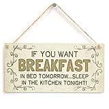 prz0vprz0v If You Want Breakfast in Bed Tomorrow&Hellip, Sleep in The Kitchen Tonight Beautiful Funny Home Accessory Gift Sign Door Decor Door Decor Lot de 10 Paquets de 5 Panneaux en Bois