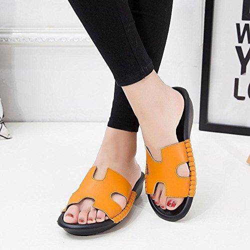Heart&M H-Typ Frauen Mittlere Ferse Keilabsatz hohle flache Sohle Plattform echtes Leder Hausschuhe Sandalen Orange