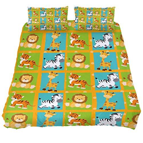 TIZORAX Bettwäsche-Set mit Cartoon-Motiv Löwe, Giraffe, Tiger, Zebra, Mikrofaser, 3-teiliges Set, Mehrfarbig, Twin 59 x 79/20 x 30 inch