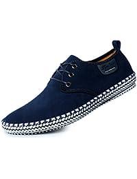 CUSTOME Hombres Ante Cuero Zapatos con Cordones Sneaker Mocasines Ligero Plano Suave Durable Hecho a Mano