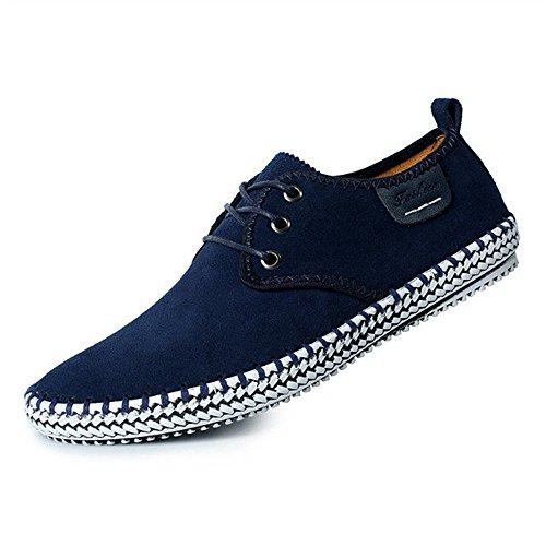 CUSTOME Herren Wildleder Leder Schuhe Schnüren Sneaker Faulenzer Leicht Eben Weich Dauerhaft Handarbeit Anti-Rutsch Schuhe Blau