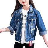 Veste En Jean Manches Longues Avec Perles Printemps Été Manteau Pour Enfant Filles Bleu 120CM