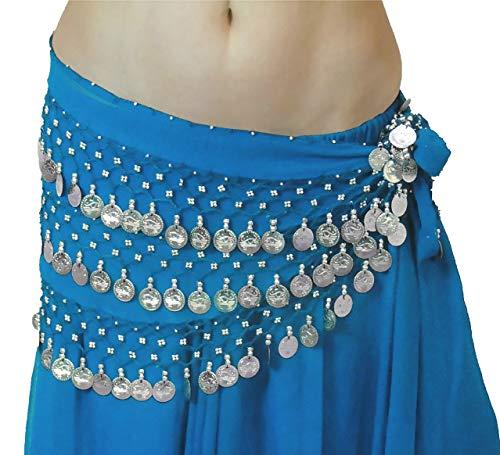 Und Welt Kostüm Tanz - Tänzer Welt MEGA NOISY Münzen Bauch Tanz Hüftgürtel STANDARD UK 10-18 (Himmel Silber)