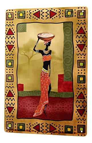 Cartel de chapa Placa metal tin sign Gira Mundial Mujer olla de barro africana en la cabeza Letrero De Metal 20X30 cm