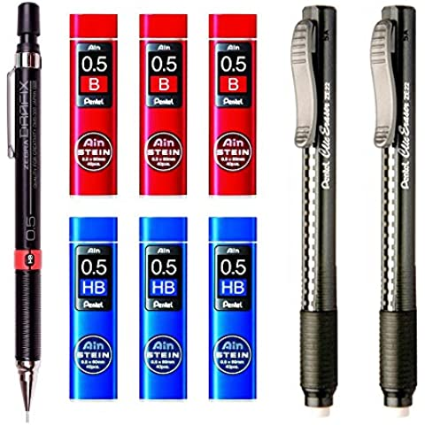 Zebra DM5-300 0.5mm Mechanical Pencil (1pcs) + Pentel ZE22 Black Rectractable Eraser Pen (2pcs) + Pentel C275-B 0.5mm Refill Leads (3pcs) + Pentel C275-HB 0.5mm Refill Leads (3pcs) - Value