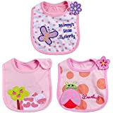 iDream Cartoon Printed Soft Cotton Toddler/Baby Bibs - Butterfly, Cow & Ladybug (Girls, Pack of 3)