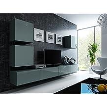 Wohnwand Vigo 22 Hochglanz Hngeschrank Lowboard Cube Farbegrau Matt Grau