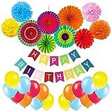 Geburtstag Dekoration, Cocodeko Happy Birthday Wimpelkette Girlande mit 4 Seidenpapier Pompoms, 6 Papier Fans Fächer und 20 Luftballons - Mehrfarbig
