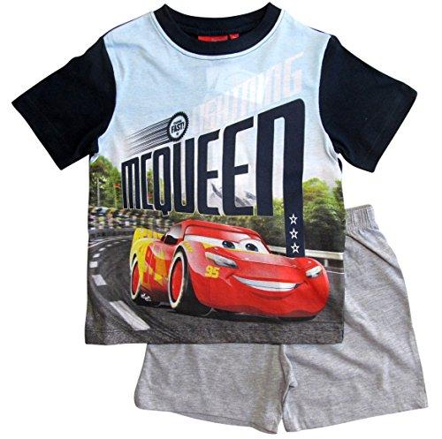 Cars Disney 3 Kollektion 2018 Ökotex Standard 100 Schlafanzug 92 98 104 110 116 122 128 Pyjama Kurz Shortie Shorty Lightning McQueen Jungen (Blau-Grau, 128)