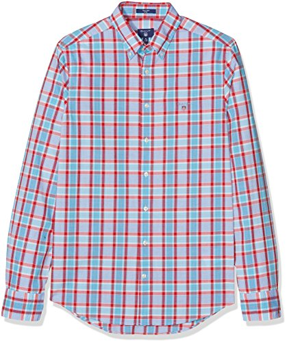 GANT Herren Freizeithemd O1. Tech Prep Check Fit Bd Red (Bright Red)