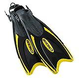 Cressi Palau viaje snorkel aletas peso ligero (hecho en Italia) negro y amarillo Talla:XS/S