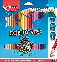 Maped - Crayons de Couleur Color'Peps Classic - 24 Couleurs Vives - Crayon Triangulaire Ergonomique - Conf