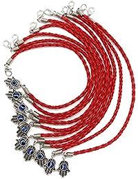 """Pulsera roja de 10 piezas con brazaletes de cabal, con Mano Hamsa giratoria en """"mal de ojo"""" - joyas para el éxito y la protecció n suerte"""