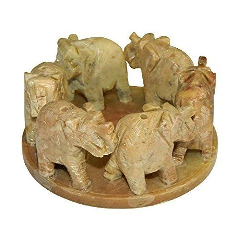 Porte-Encens pierre à savon 6 éléphants en cercle pour 6 batonnets d'encens Artisanat indien