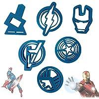 Aolvo 6Pcs Molde de Pastel de Silicona Fondant, Galletas Forma de Capitán América