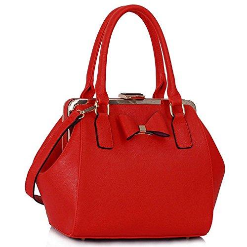 LeahWard® Kunstleder Bogen Charme Handtaschen Tote Schultertaschen Handtasche Zum Damen258A Rot Bogen Tote