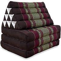 Preisvergleich für Thaikissen der Marke Livasia, Thaikissen mit 3 Auflagen, asiatisches Dreieckskissen, orientalisches Sitzkissen als Sitzsack für Entspannung und Wellness (weinrot)