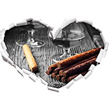 Whisky Smoky et Les cigares cubains Noir Forme/Blanc de Coeur dans Le Regard 3D, Mur ou Un Autocollant de Porte Format: 62x43.5cm, Stickers muraux, Stickers muraux, Décoration Murale