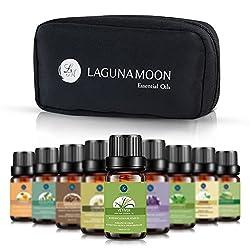 Lagunamoon Essential Oils Set Aromatherapy Premium Therapeutic Oil Top 10 Pcs Gift Kit (Ten Oils Travel Set)