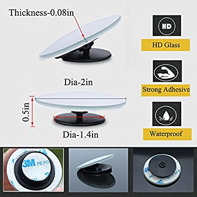 Blind Spot Mirrors For Cars - BeskooHome Waterproof 360°Rotatable Convex Rear View Mirror For Universal Cars -2 Pack : everything 5 pounds (or less!)