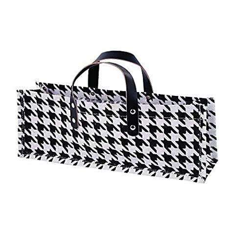 True by True Fabrications Jute Houndstooth Fabric Wine Bag Carrier with Faux Leather Handles - One Bag by Truefabrications