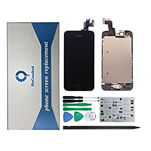 FixCracked iPhone 5C LCD Display Screen Touch Digitizer Full Assembly Replacement with Home Button+Front Facing Camera+Ear Speakers+Repair Tools, Black