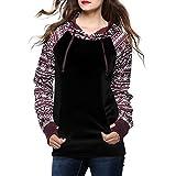 Damen Hoodies Print Beiläufige Ethno Gemustert Pullover Langarm Jacke Top Sweatshirt Pullover Tops Jumper Kapuzenpullover (S, Schwarz)