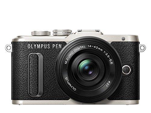 Olympus PEN E-PL8 Kompakte Systemkamera Gift-Set inklusive 3 Leder Handschlaufen (16 Megapixel, elektrischer Zoom, Full HD, 7,6 cm (3 Zoll) Display, Wifi) inkl. 14-42 mm Pancake Objektiv schwarz/schwarz