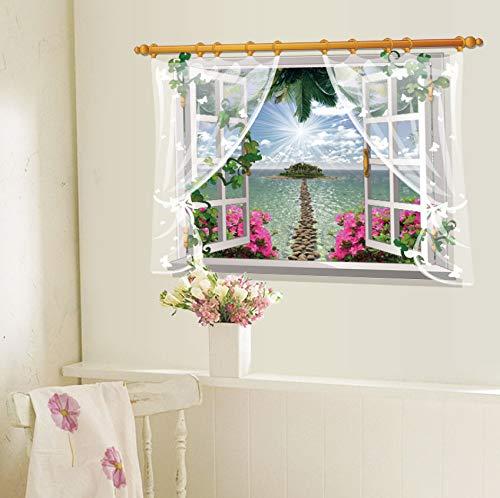 Syssyj 60X90 Cm Künstliche Fenster Aufkleber Fantasie Dschungel Tapete Garten Landschaft Wandaufkleber Hause Party Dekoration Selbstklebende Film