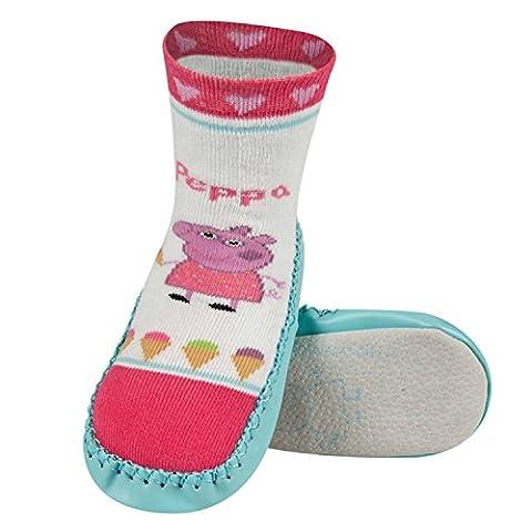 Chaussons chaussettes antidérapantes avec semelle en véritable 100% cuir - Taille de 27/28 Peppa Pig 2
