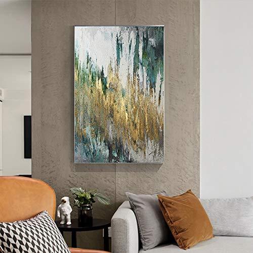 jiushice Abstrakte fließende Goldfolie Leinwand ng Moderne grüne Poster drucken teure Wandkunst Bild für Wohnzimmer Lobby Art Decor 40x60cm