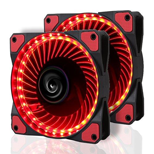 LeaningTech 2 Pcs LED Gehäuselüfter, LTC LitFlow 120mm High Airflow Quiet LED Lüfter, PC-Kühlung mit LED-Beleuchtung,Rot