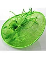 Green Fascinator Hat for the Races Wedding Round Feather Mesh