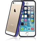 Bestwe Schutz Hülle Schutzhülle TPU Edge Premium Bumper Rahmen Case für Apple iPhone 5S 5 Schutzhülle mit Metallbutton verschiedene (Apple Iphone 5S, Blau & Schwarz)
