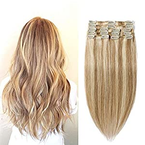 Human Hair Extensions Clip in 100% Real Remy Hair Pieces Full Head Straight Short (10