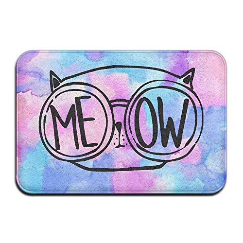 Wolanim Meow Cat Glasses Nerdy Love Kitty Indoor/Outdoor Doormat 23.6
