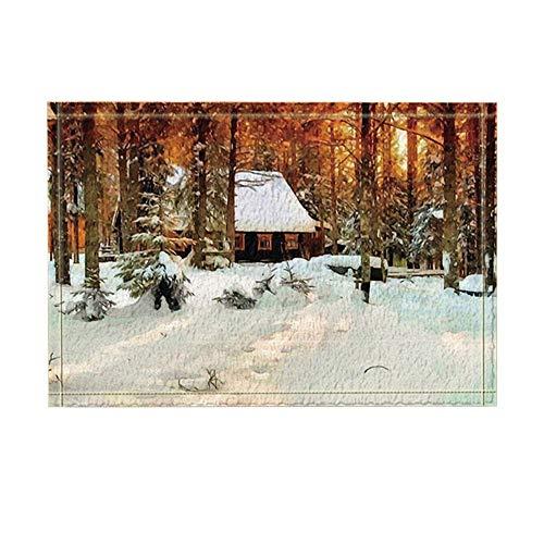 ekor Winter Blockhaus im Hain Schnee Bad Teppiche rutschfeste Fußmatte Boden Eingänge Indoor Haustür Matte Kinder Badematte 40X60cm Bad-Accessoires ()