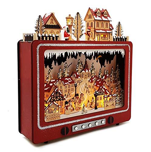 Wichtelstube-Kollektion LED Weihnachtsdeko Holz beleuchtet Weihnachtsfernseher Lichterbogen Weihnachten