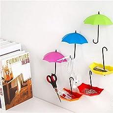 VR SHOPEE Plastic Creative Umbrella Shape Clothes Key Hat Holder Wall Hook (Multicolour, KC149MULTI)-Set of 3pcs