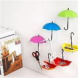 One Stop Bazaar Plastic Multipurpose Umbrella, Key, Hat Holder Wall Hanging Hook (11x3x6cm, Green, Blue and Purple) - Set of 3