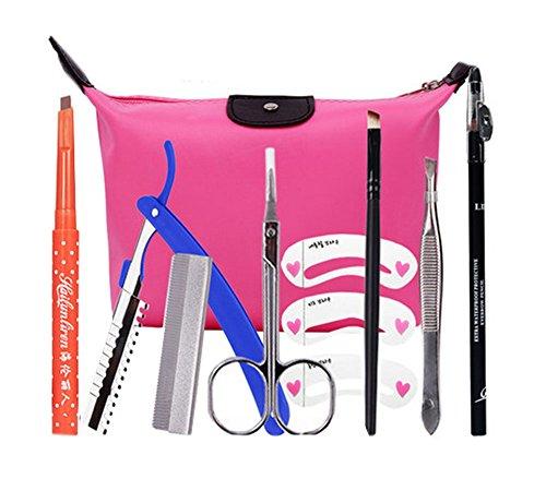 9 pièce maquillage définissez / professionnel maquillage sourcils, crayon marron