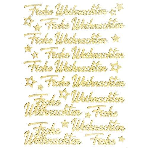 Ideen mit Herz 3-D Sticker Deluxe | Winter & Weihnachten | Erhabene Aufkleber | ideal für Weihnachts-Deko & Weihnachtskarten basteln | Bogengröße: 21 x 30 cm (Frohe Weihnachten | Gold)