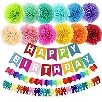 Supkeyer 15Pcs Birthday Party Paper Pom Poms Happy Birthday Banner Rainbow Paper Garland