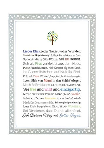 Taufgeschenk Junge | Personalisiertes Bild als Geschenk zur Taufe für Kinder und Babies in DIN A4 - Ideal als Gastgeschenk von Taufpaten - 4