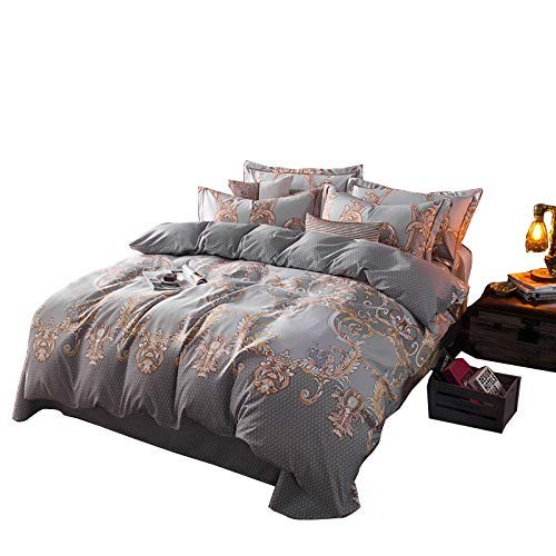ZHIMIAN Betten leicht Boho Vintage Print Reißverschluss 3Stück Luxus Bettbezug Set (1Bettbezug + 2Kissenbezüge:), Mikrofaser, Color1, Queen