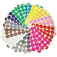LJY 32 mm Sticky Small Round Self Adhesive Dot Marking Labels, 12 Different Colours