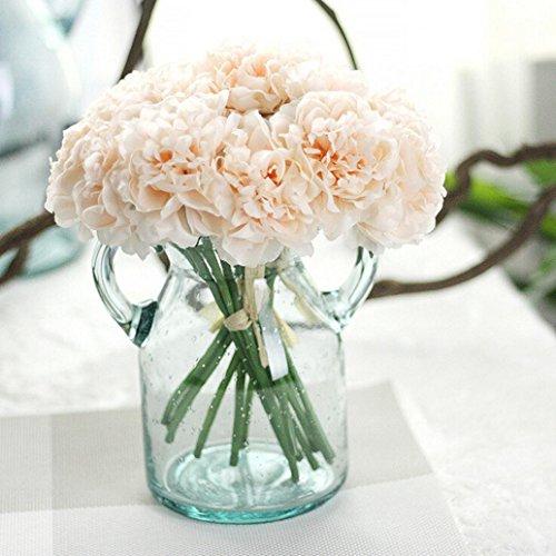 Longra Wohnaccessoires & Deko Kunstblumen Künstliche Seide Kunstblumen Pfingstrose Blumen Hochzeit Bouquet Braut Hortensie Dekor (C)